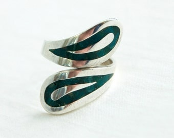 Adjustable Turquoise Ring Mexican Sterling Silver Bypass Wrap Ring Size 8  Long Ring Statement Jewelry