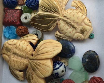 Asian Bead Mix - Vintage Fish Fetish Beads - Hand Carved Beads - Eclectic Destash