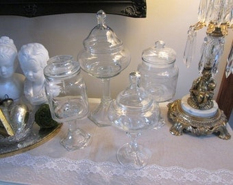 Apothecary jar set 4 piece lidded glass jars vintage jar set wedding candy table party sweets table princess party candy jars shabby wedding