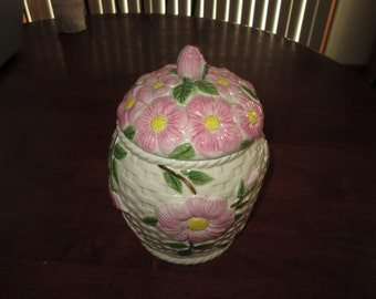 Franciscan desert rose cookie jar basket weave background pink rose dishes ginger jar raised pink rose  standing rose vintage desert rose