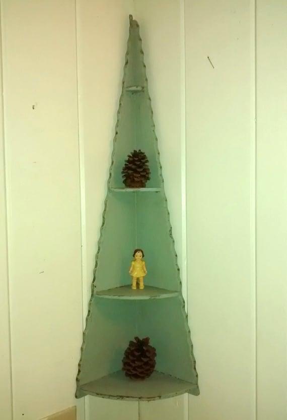 Antique Pine Tree Corner Shelf Christmas Winter Display