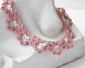Pink white lace necklace Beaded crochet collar Boho chic Gift for her Spring fashion Dusty rose