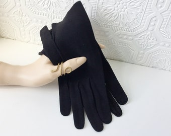 50's Black Suede Gloves, Handstitched, NOS New Old Stock, Ladies Leather Driving Winter Dress Gloves, Made in France, by Kislav, Size Medium