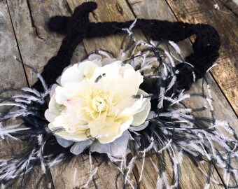 tie back floral headband,photo prop,hair accessories