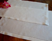 Irish Linen Placemats Two White Vintage Doilies Tray Liners
