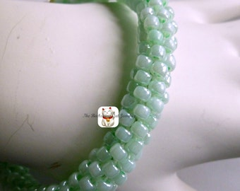 "Cool mint green beaded Kumihimo cuff or bangle bracelet, ""Mint Julip"""