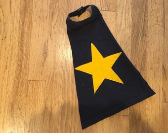 Baby Super Hero Cape - Navy Blue with Yellow Star