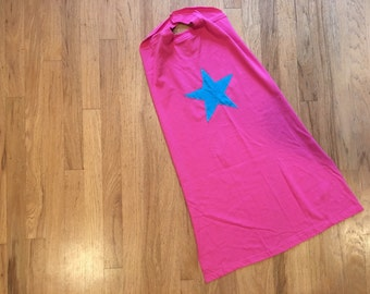 Girls Super Hero Cape - Pink Cape with Turquoise Star