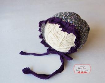 Purple Floral Newborn Vintage Inspired Bonnet, Cotton Baby Girl Bonnet, Newborn Photography Prop, Newborn Girl Hat, Photo Prop, Rts