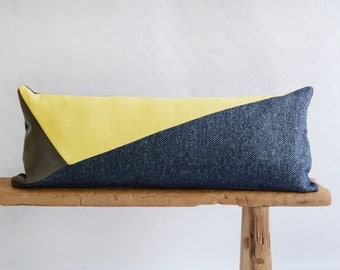 Modern Lumbar Pillow/Navy Blue/Yellow/Taupe Leather/Triangles/Handcrafted/Custom Pillow/Handmade/Eclectic/ZigZag Studio Design