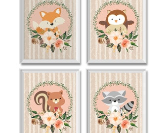 Woodland Nursery Decor Girl, Woodland Animals Nursery Decor Girl, Woodland Animals, Fox, Owl, Squirrel, Raccoon, Woodland Animals Art Prints