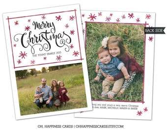 Hand drawn Star Holiday Card- Family Photo Christmas Card, New Years Card // Digital or Printed (FREE SHIPPING)