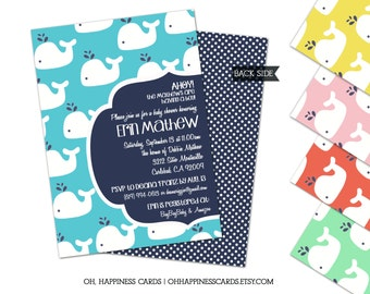 Modern Whale Or Nautical Baby Shower Invitation // Digital or Printed (FREE SHIPPING!)