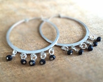 Black Onyx Earrings - Sterling Silver Jewelry - Natural Gemstone Jewellery - Hoop