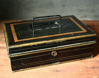 Black cash box, tin money box, black tin