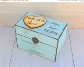 Wedding Sale Rustic Recipe Box Painted and Distressed in the COLOR of YOUR CHOICE and Heart or Mason Jar