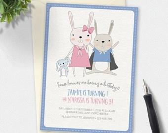 Bunny Rabbit Invitation, Birthday invitation, kids invitation, Custom invitation, twins invitation, first birthday, combined birthday