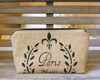 Textured Linen Fabric Paris Makeup Bag Enter Coupon Code SALE50 and Save 50%