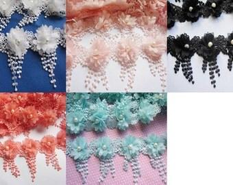 1y Flower Chiffon Lace Edge Trim Pearl Wedding Applique DIY Sewing Crafts