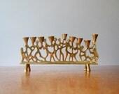 Mid Century Modernist Brass Menorah - Judaica / 70's Candelabra