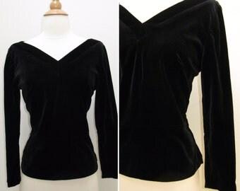 Vintage 1950s Black Velvet V Neck Front and Back Top