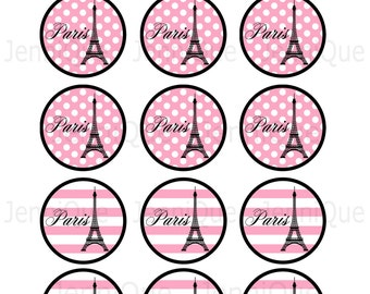 PRINTABLE Paris or Eiffel Tower Themed Cupcake Toppers, Paris Theme Wedding or Bridal Shower Decoration, Paris Baby Shower Eiffel Tower Tags