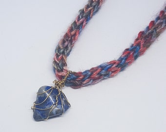 "One of a Kind Golden Wire Wrapped Lapis Lazuli Gemstone Pendant on Extra Soft Crocheted Rainbow Yarn 16"" Necklace"