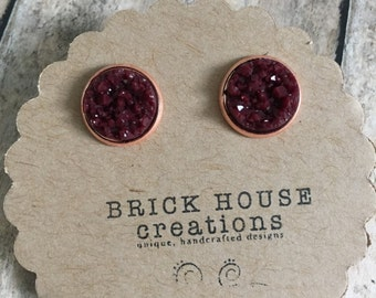 Burgundy Druzy Earrings