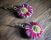 Embroidered drop earrings, hand embroidered earings, flower earrings