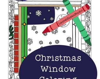 Christmas Coloring Page, Adult Coloring Page, Holiday Window Coloring, Snowflakes Woodland Fir Trees Moon Winter