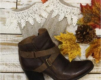 BOOT BLISS Oatmeal Lace Socks lace boot socks boot socks combat boot socks  womens boot socks cowboy boots Catherine Cole Studio SLXC2