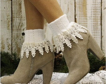 SIGNATURE LACE in white/ivory lace socks women socks lacey socks short boot socks ladies hosiery lace cuff sock CatherineCole Studio SLC2