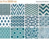 SALE Curtains- Pair of Drapery Panels- Premier Prints Aquarius Dark Turquoise Curtains- 25 or 50W x 63 84 96 108 Drapes- Window Treatments