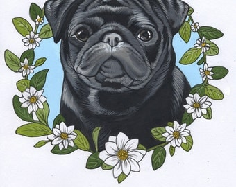Original illustration of a cute black pug / framed.
