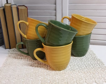Six Coffee Mugs Olive & Mustard Cups Hot Cocoa Mugs