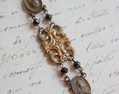 Forever-Vintage assemblage bracelet vintage rosary centers vintage watch fob link assemblage jewelry F335-by French Feather Design