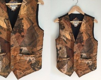 Sleeveless leather vest with newspaper print