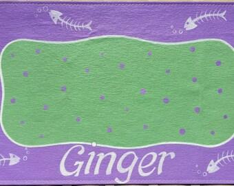 Dog Placemat Floor Cloth Personalized Pet Placemat Hand Painted Pet Mat Personalized Dog Food Mat Cat Food Mat Canvas Pet Mat