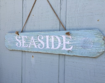 Seaside Sign, Beach Signs, Seaside Beach Sign, Nautical Decor, Beach House Sign, Seaside Wood Sign, Rustic Seaside Sign, Reclaimed Wood Sign