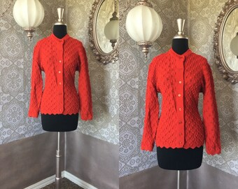 Women's Vintage 1960's 70's Cherry Red  Knit Cardigan Sweater M/L