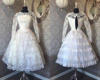 Vintage 1950's 60's Tea Length Tulle and White Lace Wedding Dress S/XS
