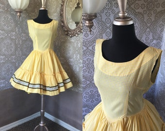 Vintage Yellow and White Gingham Square Dancing Dress M/L