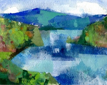 """Peace like a river 05, original watercolor painting 7"""" x 5""""  Chance Lee"""