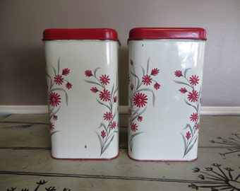 Canister Set Red and White Canisters Metal Canisters Shabby Chic Canisters Kitchen Storage Red Harvel Cottage Kitchen
