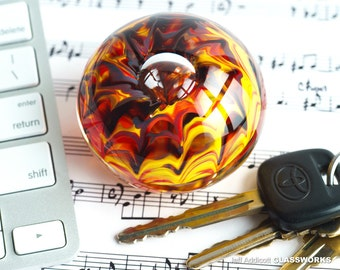 Small Hand Blown Glass Paperweight - Hot Color Streaks with a Bubble