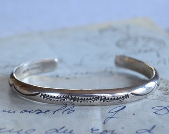 Heavy Hand Stamped Sterling Spacer Cuff - Native American
