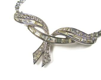 Boucher Rhinestone Bow Necklace