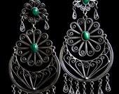 Filigree earrings with jade