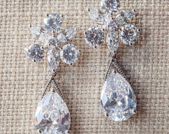 Crystal drop earrings, Wedding Earrings, Diamante bridal earrings, Silver wedding jewelry, Teardrop bridal earrings, CZ bridal Earrings