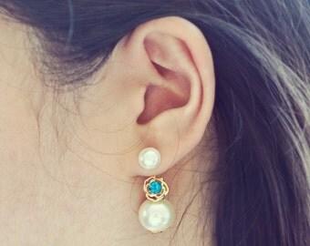 Blue Rose Pearl Ear Jacket Earrings